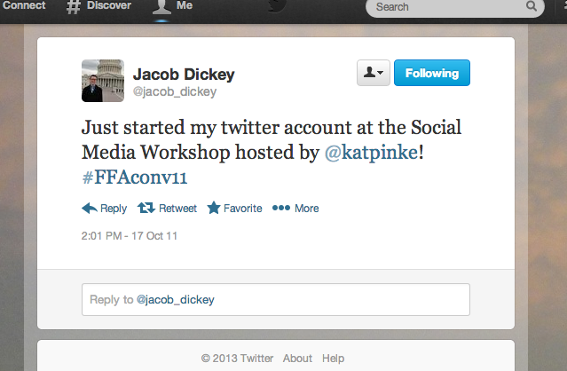 Jacob sent me his first tweet as a memory.