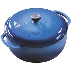 Blue 7qt Porcelain Enamel Coated Cast-Iron Dutch Oven